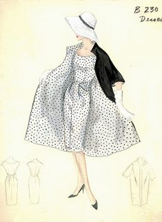 Jean Desses Day Ensemble: Black & white polka-dot day dress w/ coordinating black coat lined in the dress fabric   --  by FIT Library Department of Special Collections, via Flickr