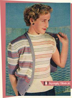 The Vintage Pattern Files: Free 1950s Knitting Pattern - Twinset mit kurzen Ärmeln
