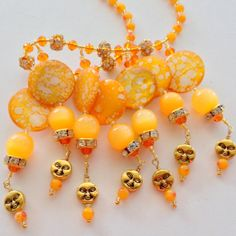 Gift for Mom or Grandma Necklace Magnetic Clasp Sun Shine Yellow Orange Matching Earrings Available