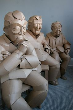 Sculptor Warren King has been recreating residents of a small village in China, where his grandparents grew up, for several years now. I should mention that his only mediums are old cardboard moving boxes and glue. What?! The life sized figures brought such a deep connection between him and his