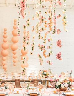 hanging florals // draped flowers // boho dinner party