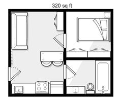 make all interior doors pocket, consider adding loft over bed/bath with pull down stairs for storage poss. Shed House Plans, Small House Plans, House Floor Plans, Mobile Home Floor Plans, Studio Apartment Layout, Apartment Floor Plans, Tiny Apartments, Small House Design, Tiny House Living