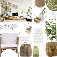 Organic Modern by c-silla on Polyvore featuring interior, interiors, interior design, home, home decor, interior decorating, Dot & Bo, Bernhardt, Serena & Lily and Pier 1 Imports
