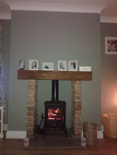 Log burner lit, farrow and ball paint, pigeon House Color Schemes, Colour Schemes, House Colors, Fitted Wardrobe Doors, Log Burner Fireplace, Diy Ideas, Decor Ideas, Farrow And Ball Paint, Glass Fit