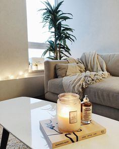 Large plant, throws on couch & candles Simple Living Room Decor, Home And Living, Interior And Exterior, Interior Design, Rental Decorating, Dream Decor, Cozy House, Loft, Apartment Living