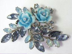 Vintage Molded Glass Rhinestone Blue Plastic Brooch by YourVintageDesires, $29.50
