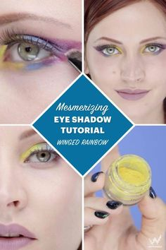 To make the winged rainbow eyeliner look, first start out with white as a base. Then continue to use loose pigment to create the full look.