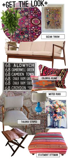 "Chairish Get the Looksofa // suzani throw // Mayan painting // side table // bus blind // x-base leather stool // ""Penny"" Kilim pillow // Bolivian textile ottoman // ""Stella"" Kilim pillow // Ronald Julius Christensen print // ""Lyla"" Kilim rug // striped mid-century chair // blue glass lamp"