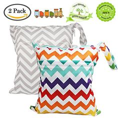 14743723073 2Pack Baby Wet and Dry Cloth Diaper Bags With 2 Zippered ... Diaper  Organization