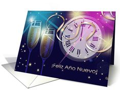 Feliz Año Nuevo. Send wishes and love on New Year to friends and family with this elegant and festive card in Spanish with personalized inside greeting. at greetingcarduniverse.com