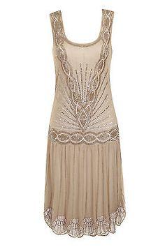 BEIGE NUDE SEQUIN CHARLESTON FLAPPER uk 12 GATSBY dress 1920's ART DECO