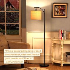 AmazonSmile: Brightech Montage LED Floor Lamp- Classic Arc Floor Lamp with Hanging Lamp Shade - Tall Industrial Uplight Lamp for Living Room, Family Room, Office or Bedroom, Energy Saving and Long Lasting- Black: Home Improvement