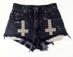 Vintage high waist shorts, cutoff shorts, shredded shorts, shredded jeans, destroyed denim, destroyed shorts, grunge style, omen eye shorts, Omen Eye, omeneye, cutoff shorts, jean shorts, studded denim, studded shorts, studded cut offs, distressed jeans, distressed shorts, high waisted shorts, cut off, coachella, coachella 2012, festival style, festival shorts, Levis shorts, vintage Levi's