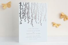 """""""Cascade"""" - Customizable Foil-pressed Save The Date Cards in Gray by Lori Wemple. Save The Date Cards, Wedding Invitations, Dating, Place Card Holders, Gray, Masquerade Wedding Invitations, Ash, Quotes, Save The Date Maps"""