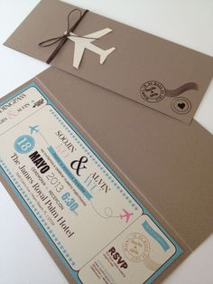 Boarding pass invitation would be perfect for a moving party or destination wedding Creative Wedding Invitations, Wedding Stationary, Wedding Invitation Cards, Wedding Cards, Invites, Original Wedding Invitations, Passport Invitations, Ticket Invitation, Invitation Envelopes