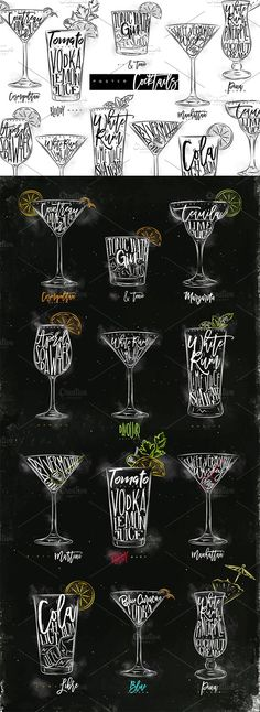 Poster Cocktails. Best food illustrations for businesses like food menu, blogging, graphic design, poster. More #food #illustrations for your #brand you can download here ➝ https://creativemarket.com/graphics/illustrations?u=BarcelonaDesignShop