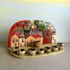 Menorah  ceramic houses menorah  Hanukkah menorah  by ednapio