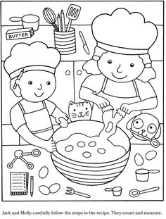 Sample page from 'Color & Cook Story Coloring Book' via Dover Publications ~s~ Coloring Sheets For Kids, Adult Coloring, Coloring Books, Pancake Day Colouring Pages, Drawing For Kids, Art For Kids, Pizza Coloring Page, Dover Publications, Cooking With Kids