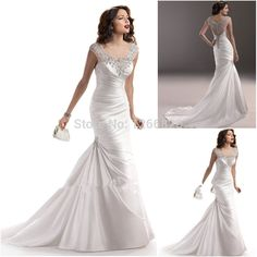 Find More Wedding Dresses Information about Custom Made Size 2014 New Fashion Popular Women Ruched Beads Sequins Cap Sleeves Ivory Satin Trumpet Mermaid Wedding Dresses,High Quality Wedding Dresses from Sao Tome Garments Co., Ltd. on Aliexpress.com