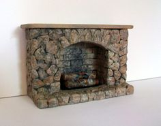 Miniature Stonework Fireplace (half inch dollhouse scale)