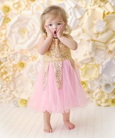 This Pink & Gold Sequin Chiffon Ruffle Dress - Infant, Toddler & Girls is perfect! #zulilyfinds