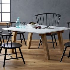 Riviera Square Marble Top Dining Table in Paola Navone Riviera | Crate and Barrel