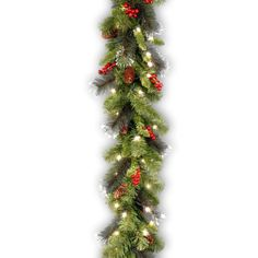 National Tree Crestwood Spruce Garland with Silver Bristle Cones Red Berries and Glitter with 50 Battery Operated Soft White LED  Lights 9Feet x 10Inches >>> Read more reviews of the product by visiting the link on the image.