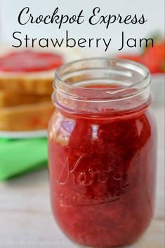In less than an hour, you can be enjoying fresh Crockpot Express Strawberry Jam! It's perfect for a peanut butter and jelly sandwich or as a topping for sundaes and pancakes. Jelly Recipes, Jam Recipes, Canning Recipes, Soup Recipes, Potato Recipes, Casserole Recipes, Drink Recipes, Pasta Recipes, Vegetarian Recipes