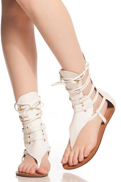 259fced5aaf6 White Faux Leather Lace Up Sandals   Cicihot Sandals Shoes online store  sale Sandals
