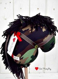 Stick Horse, Camouflage Hobby Horse by SockMonkeyBizz for $36.50