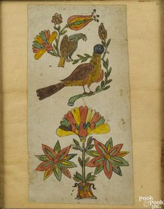 """Pennsylvania ink and watercolor bookplate, 19th c., of birds above a potted flower, 8 1/4"""" x 4 1/4"""". Provenance: Clyde Youtz collection, Conestoga Auction, September 9, 2000, lot 324."""