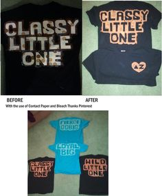 used the idea off of pinterest to create a stencil out of contact paper and using bleach to dye the color around the shirt great for Big/ Little sorority shirts my littles and Gbig LOVED THEM! so fast and easy!