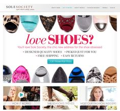 "Sole Society!        ""exclusive styles      surprisingly affordable      free shipping"" solesociety.com"