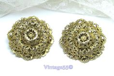 Vintage Earrings Gold tone filigree clip on signed by Vintage55, $25.00