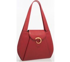 CARTIER PANTHERE RED LEATHER SHOULDER BAG #Cartier #ShoulderBag