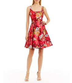 Nicole Miller New York Floral-Print Mikado Party Dress #Dillards