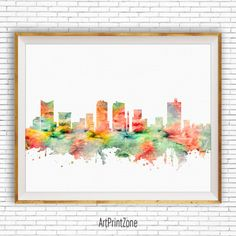 Fort Worth Texas, Fort Worth Art Print, Fort Worth Skyline Office Poster Office Art, Watercolor Skyline, Watercolor City Print, ArtPrintZone #CitySkylineArt #WatercolorCity #ArtPrint #FortWorthPrint #CitySkylinePrints