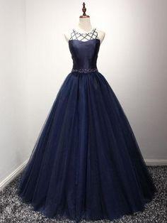 Chic A-line Sleeveless Dark Navy Rhinestone Long Prom Dress Evening Gowns AM249