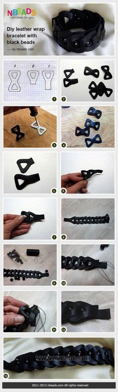 Summary: A very black beaded leather bracelet could be made through several steps illustrated in pictures below. There are three leather patterns are shown. If you want to DIY leather wrap bracelet, you have to cut the patterns first.  #DIY