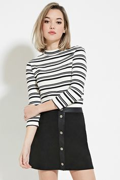 Striped High-Neck Top - Tops - 2000150654 - Forever 21 EU English