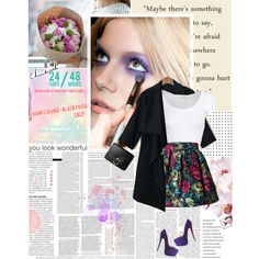 Forget about the winter by hug-voldemort on Polyvore #blazer #floral #white crop top #crop