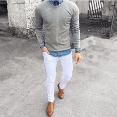 The ultimate White pant + Sweater outfit for men - Men's Fashion Blog…