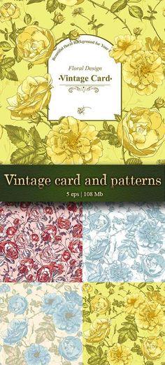 Beautiful vintage seamless roses backgrounds and greeting card - Красивые винтажные бесшовные узоры из роз и поздравительные открытки
