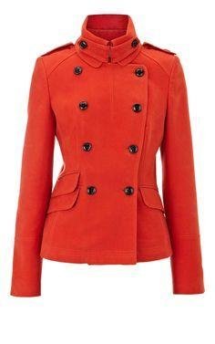 Karen Millen Modern Military Moleskin Jacket Red - for j Karen Millen, Red Fashion, Fashion Outfits, Girl Fashion, Cheap Designer Shoes, Designer Clothing, Jackets For Women, Clothes For Women, Brian Atwood