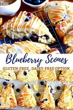 Easy Gluten-Free Blueberry Scones with a sweet and tangy lemon glaze.Easy Gluten-Free Blueberry Scones with a sweet and tangy lemon glaze. Made with a few simple ingredients. The recipe also has a dairy-free option. Scones Sans Gluten, Dairy Free Scones, Dessert Sans Gluten, Gluten Free Sweets, Gluten Free Blueberry Muffins, Blueberry Desserts, Healthy Gluten Free Snacks, Easy Gluten Free Recipes, Blueberry Scones Recipe