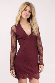 Red Dresses, Tobi, Wine One Night Lace Dress
