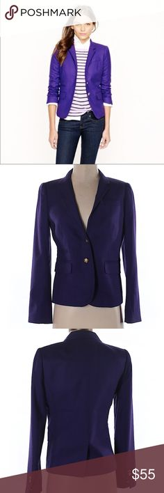 J.crew Classic schoolboy blazer in wool flannel 100% Wool. Dark purple. Excellent Condition.     Looking for the original schoolboy blazer? Here it is, with the same length, the same slightly shrunken, superchic fit and the same details you fell in love with—including a secret interior pocket for carrying little extras like lipstick (and hello, ChapStick).  Wool flannel. Lapel collar. Functional buttons at cuffs. Chest welt pocket, welt flap pockets. Lined. Dry clean. J. Crew Jackets & Coats…