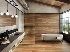 wood look and glazed tiles bathroom contemporary design Outdoor Flooring, Outdoor Walls, Indoor Outdoor, Wooden Wall Design, Wooden Walls, Wall And Floor Tiles, Contemporary Bathrooms, Contemporary Design, Beautiful Bathrooms