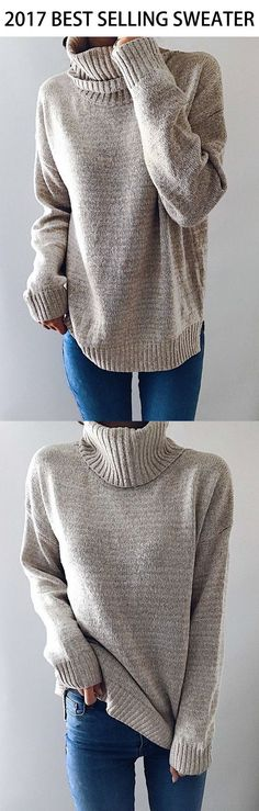 $36.99!Chicnico Causal Knit High Neck Loose Sweater. Get ready for Fall fashion! Find fashionable outfits for the new season.