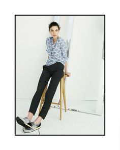 J.Crew silk cat print shirt worn with the Eaton boy in Italian stretch wool pant. #trousers #jcrew